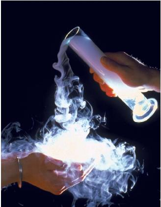 Pure carbon dioxide gas can be poured because it is heavier than air. (Reproduced by permission of Photo Researchers, Inc.)
