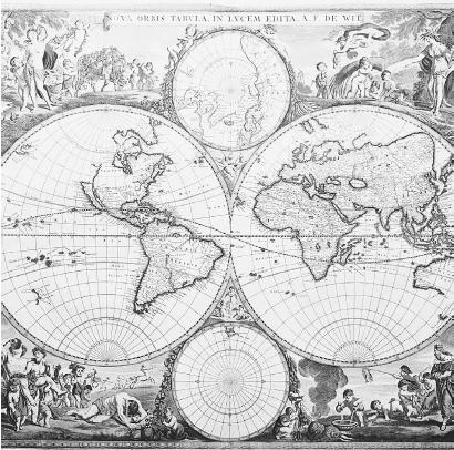 T HIS MAP OF THE WORLD , SURROUNDED BY ALLEGORICAL SCENES DEPICTING THE