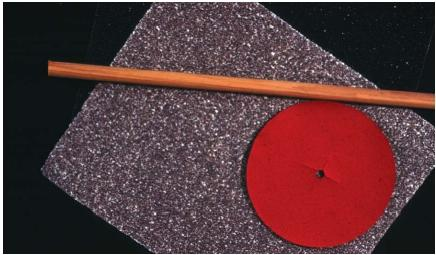 Sandpaper is a common abrasive. (Reproduced by permission of Field Mark Publications.)