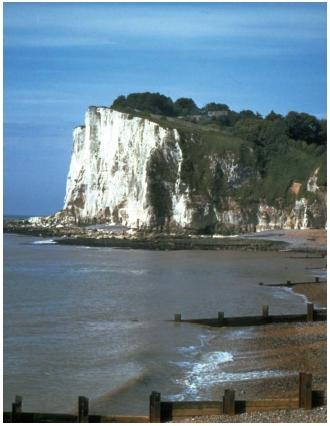 The White Cliffs of Dover, England, get their characteristic color from deposits of calcium carbonate. (Reproduced by permission of JLM Visuals.)