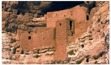 These ruins at the Montezuma Castle National Monument in Arizona are remnants of a culture that flourished about A.D. 1200. (Reproduced by permission of The Stock Market.)