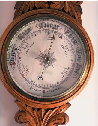 An aneroid barometer. (Reproduced by permission of The Stock Market.)