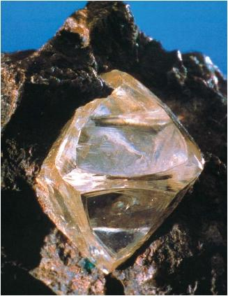 Gem-quality diamond in Kimberlite. (Reproduced by permission of National Aeronautics and Space Administration.)