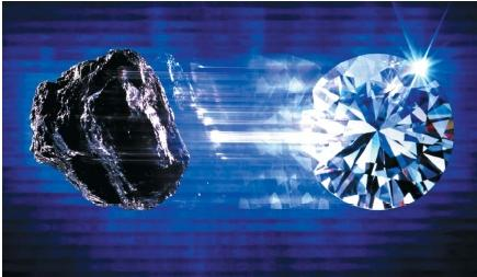 Carbon, and a carbon-created diamond. (Reproduced by permission of The Stock Market.)