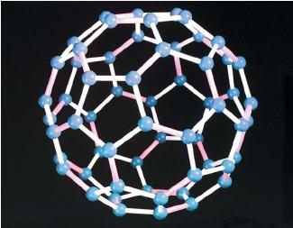 A supercomputer simulation of the atomic structure of a molecule of Buckminsterfullerene. Carbon molecules appear as small spheres. (Reproduced by permission of Photo Researchers, Inc.)