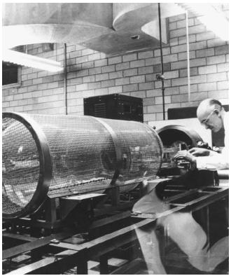 A 1962 photo of a wirecaged cathode-ray tube. The glass vacuum chamber encloses an electron gun. (Reproduced courtesy of the Library of Congress.)