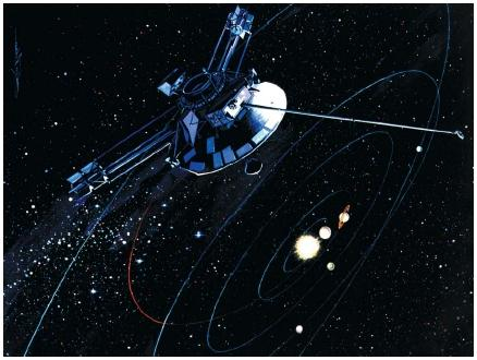 The unmanned Pioneer 10 spacecraft leaving our solar system. The laws of celestial mechanics allow scientists to determine the orbits of artificial satellites. (Reproduced by permission of The Stock Market.)