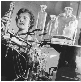 In this 1964 photo, a photographic chemist conducts an experiment on dye formation in a traditional chemical laboratory. (Reproduced courtesy of the Library of Congress.)