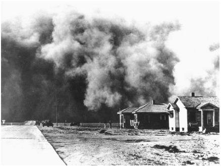A dust storm approaching Springfield, Colorado, that would engulf the city in total darkness for almost an hour. Dust storms can occur when soil not securely anchored by vegetation is dried out by drought then blown up by winds. (Reproduced courtesy of the Library of Congress.)