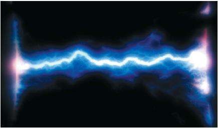 Illustration of an electric arc between two metals. (Reproduced by permission of Photo Researchers, Inc.)