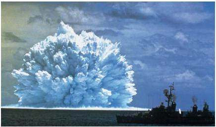 A nuclear explosion at sea. (Reproduced by permission of The Stock Market.)
