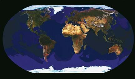 The elongated globe view of the Earth. (Reproduced by permission of The Stock Market.)