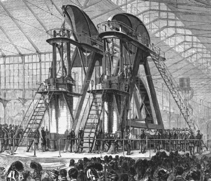 The Corliss steam engine was a symbol of the nineteenth-century belief in progress and industry. The 700-ton (636 metric ton), 1,400-to-1,600-horsepower engine powered all the exhibits at the Centennial Exhibition in Philadelphia, Pennsylvania, in 1876. (Reproduced courtesy of the Library of Congress.)