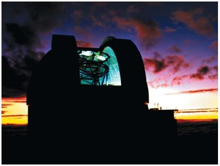 The United Kingdom Infrared Telescope atop the dormant volcano Mauna Kea in Hawaii. Because infrared light is absorbed by carbon dioxide and water vapor, astronomers use this dry, high-altitude site to minimize the infrared light lost to surrounding air. (Reproduced by permission of Photo Researchers, Inc.)