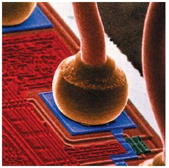 A colored scanning electron micrograph of the end of a gold micro-wire bonded to the silicon chip that houses an integrated circuit. The photo is magnified 280 times. (Reproduced by permission of Photo Researchers, Inc.)