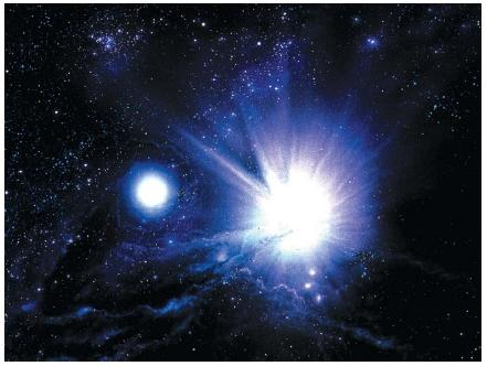 An artist's impression of the birth of two stars from clouds of interstellar matter. As the stars begin to form, their increasing gravity pulls more of the surrounding gases, which will be incorporated into the stars and used as fuel during their lifetime. (Reproduced by permission of Photo Researchers, Inc.)
