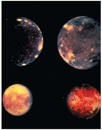 The four largest satellites of Jupiter are the Galilean satellites, named after seventeenth-century Italian astronomer Galileo Galilei. This composite image shows the four satellites to scale: Io (upper left), Europa (upper right), Ganymede (lower left), and Callisto (lower right). All but Europa are larger than our moon. Ganymede is larger than Mercury. (Reproduced by permission of National Aeronautics and Space Administration.)