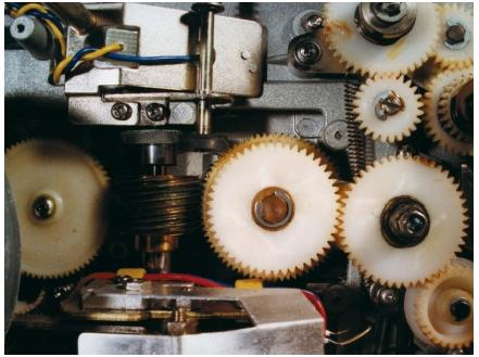 The gears that power a film projector. (Reproduced by permission of Thomas Video.)