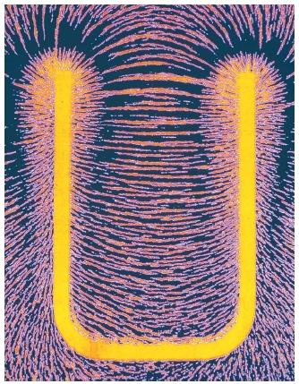 A computer graphic of a horseshoe magnet with iron filings aligned around it. (Reproduced by permission of Photo Researchers, Inc.)