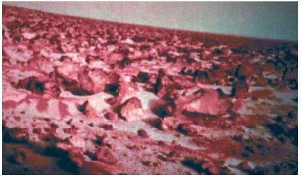 A photograph of the Martian surface taken by one of the Viking landers. The layer of morning frost that can be seen in the photo is less than one-thousandth of an inch thick. (Reproduced by permission of National Aeronautics and Space Administration.)