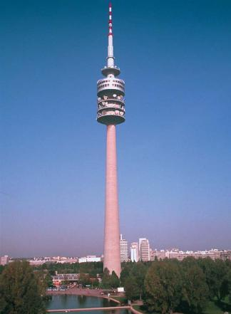A microwave communications tower in Munich, Germany. (Reproduced by permission of Photo Researchers, Inc.)