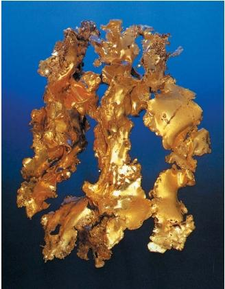 A sample of gold leaf from Tuolomne County, California. (Reproduced by permission of National Aeronautics and Space Administration.)