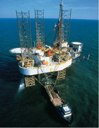 An offshore natural gas drilling platform. (Reproduced by permission of The Stock Market.)