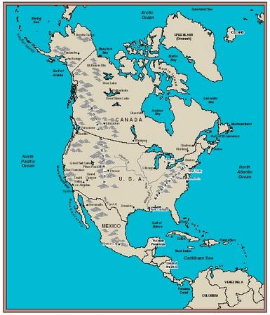 Map Of North America With Rivers And Lakes.North America Body Earth Type Form Gas System Part