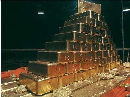 One ton of gold bars. (Reproduced by permission of Photo Researchers, Inc.)