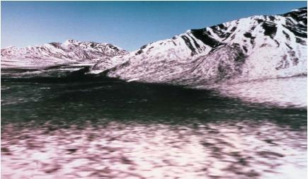 A computer-generated three-dimensional perspective view of Death Valley, California, constructed from radar data from the Shuttle Imaging Radar-C (SIR-C) combined with an elevation map. The brightness levels seen here are determined by the radar reflecting on the surface. SIR-C was carried by a space shuttle in April 1994. (Reproduced by permission of Photo Researchers, Inc.)