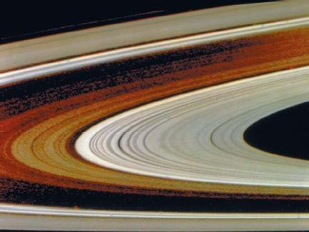 Saturn's rings, as seen by Voyager in November 1980. (Reproduced by permission of National Aeronautics and Space Administration.)