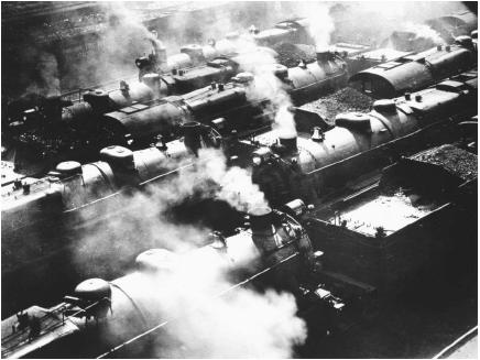 Trains powered by steam engines. (Reproduced by permission of Corbis-Bettmann.)