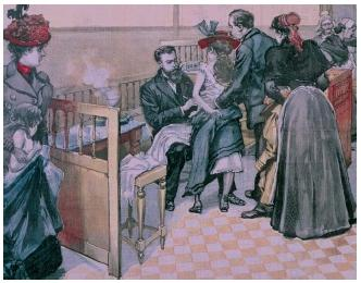 An engraving showing patients being vaccinated against rabies at the Pasteur Institute in Paris, France. Louis Pasteur (1822–1895) developed a rabies virus that was milder and had a shorter incubation (development) period than the wild virus. A person bitten by a rabid animal would be inoculated with the Pasteur virus and rapidly develop immunity to the wild strain. The first human patient was successfully treated in 1885. (Reproduced by permission of Photo Researchers, Inc.)