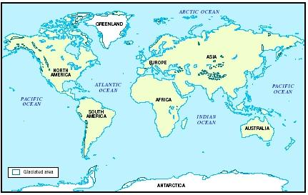 Map Of Glaciers Around The World Glaciers Cover Roughly 10 Percent Of Earth S Land Area