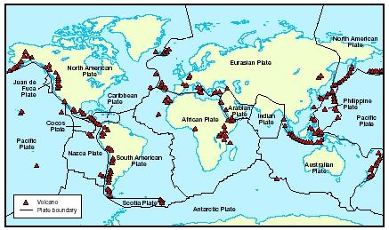 Map of the active volcanoes around the world. Notice how the majority