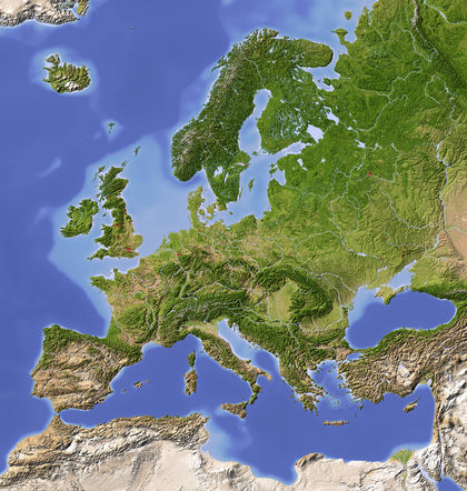 Map Of Europe With Bodies Of Water.Europe Body Water Earth Form System Plant Waves Change Surface